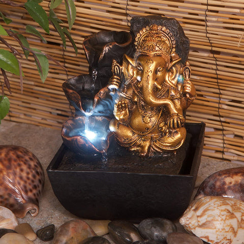 Mini Ganesh Indoor Water Feature with Lights