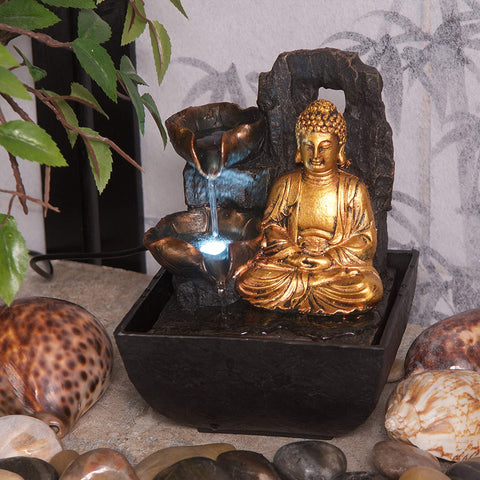 Mini Majestic Golden Buddha Indoor Water Feature