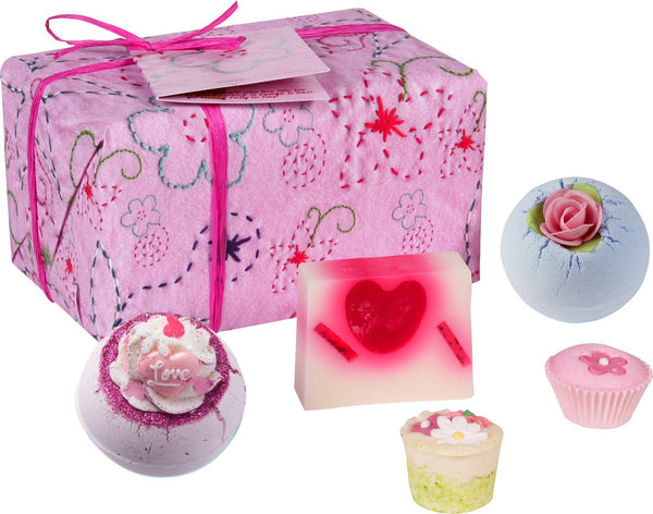 Pretty in Pink Strawberry Bath Bomb & Soap Gift Box by Bomb Cosmetics