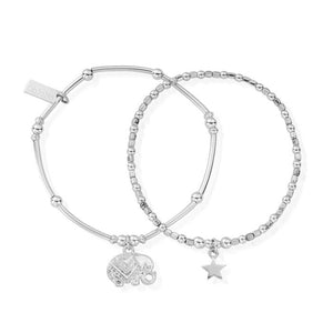 Lucky set of two stacking bracelets elephant star chlobo