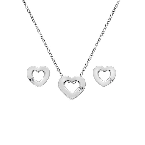 Diamond Amulets Heart Pendant & Earring Set Hot Diamonds Jewellery
