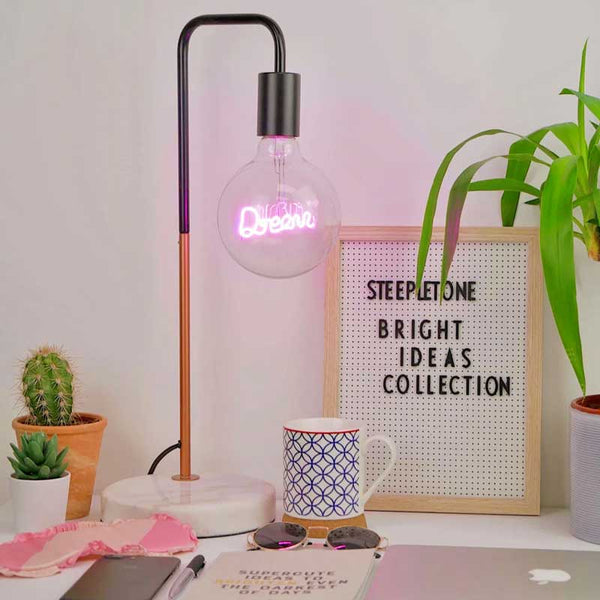 Dream LED Round Light Bulb Text Steepletone