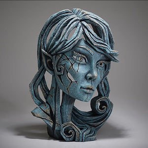 Female Elf Bust Sculpture Aqua Edge