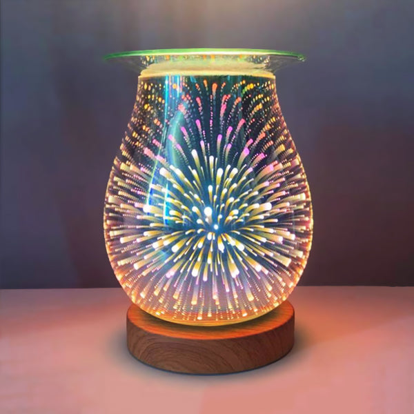 Fireworks 3D Oval (Oak Base)