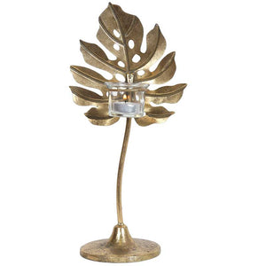 Gold Monstera Leaf 33.5cm Tealight Holder