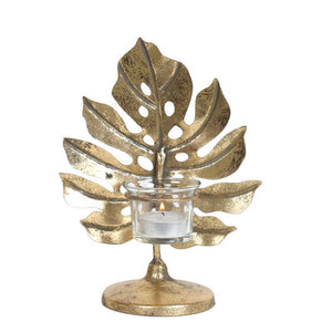 Gold Monstera Leaf 22.5cm Tealight Holder