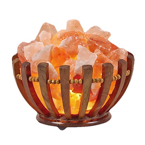 Wooden Basket With Himalayan Salt Rocks Lamp