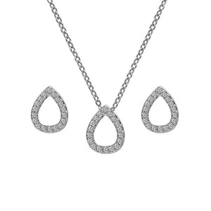 Diamond Amulet Teardrop Pendant & Earring Set Hot Diamonds Jewellery