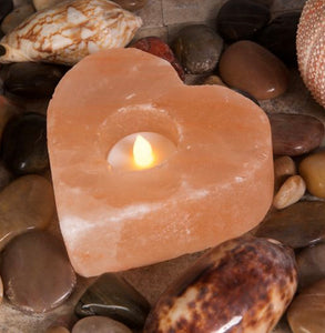 Himalayan Salt Heart Shaped Tea Light Holder