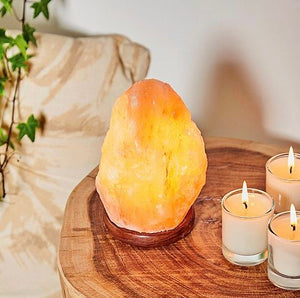 Small Himalayan Salt Lamp with Wooden Base