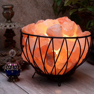 Criss-cross Basket with Himalayan Salt Rocks