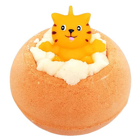 Meow For Now Orange Bath Blaster with Toy Cat Bomb Cosmetics