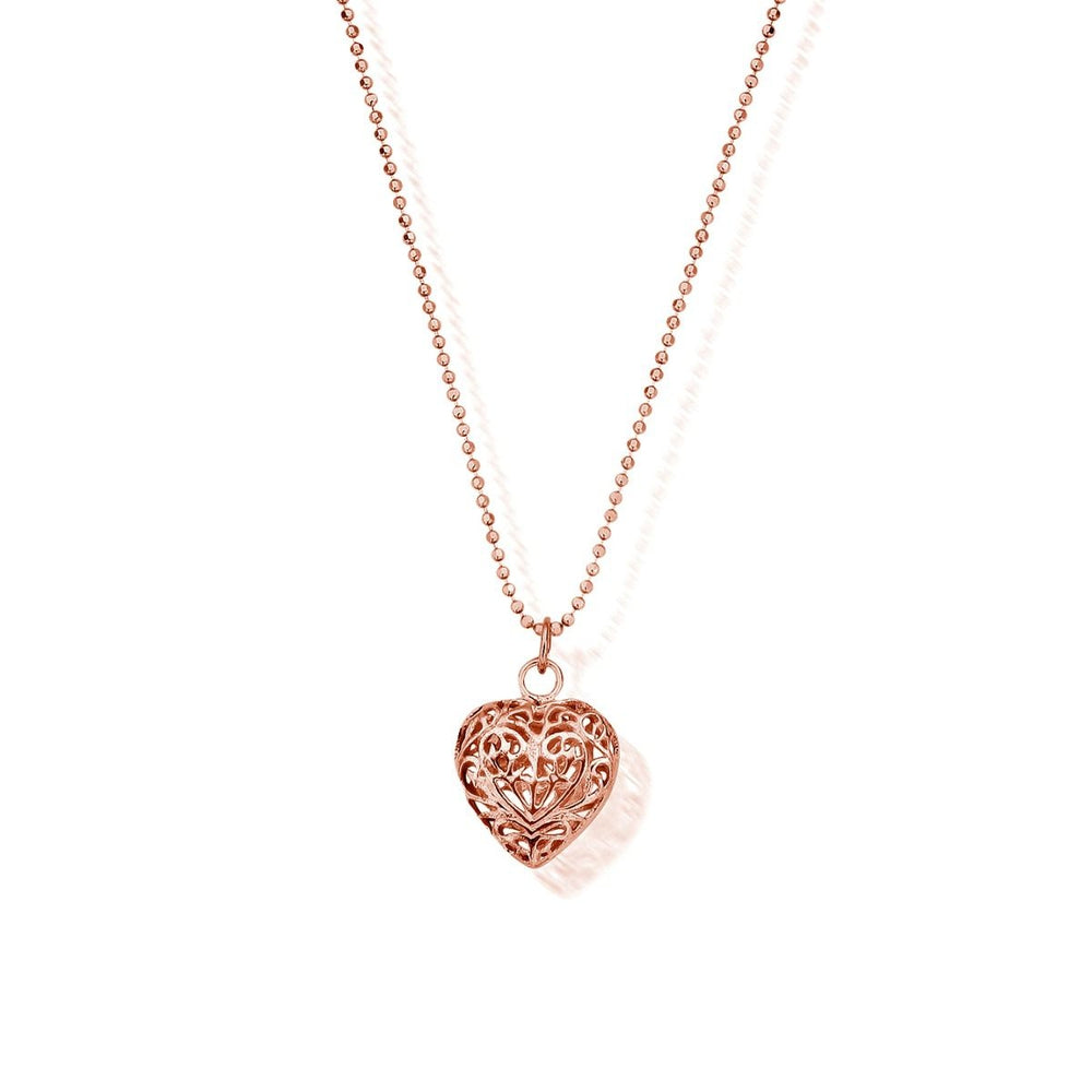 Rose Diamond Cut Chain with Filigree Heart