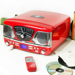 ROXY 4BT Red Retro Record Player Steepletone