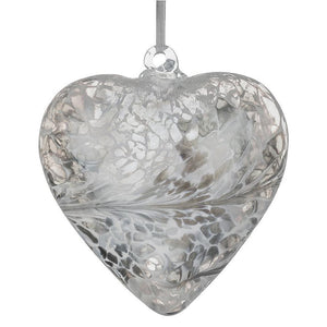Sienna Glass Friendship Heart Pastel Silver Bauble