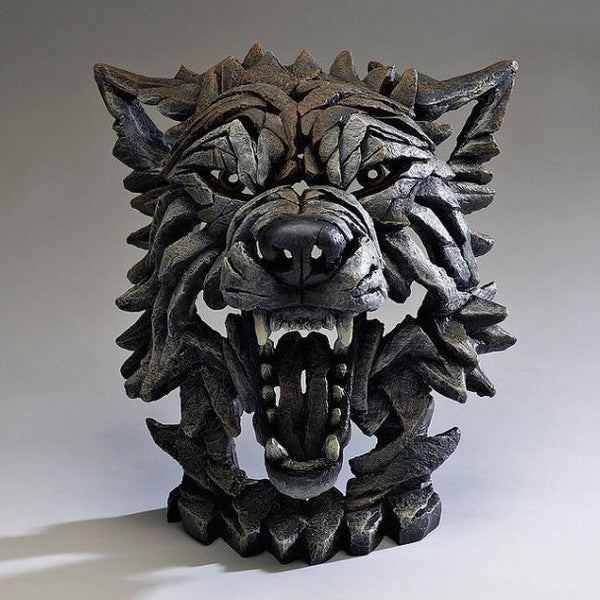 Wolf Bust Timber Edge Sculpture
