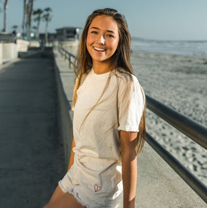 Surfer girl t shirt. hand sewn in california 100% cotton