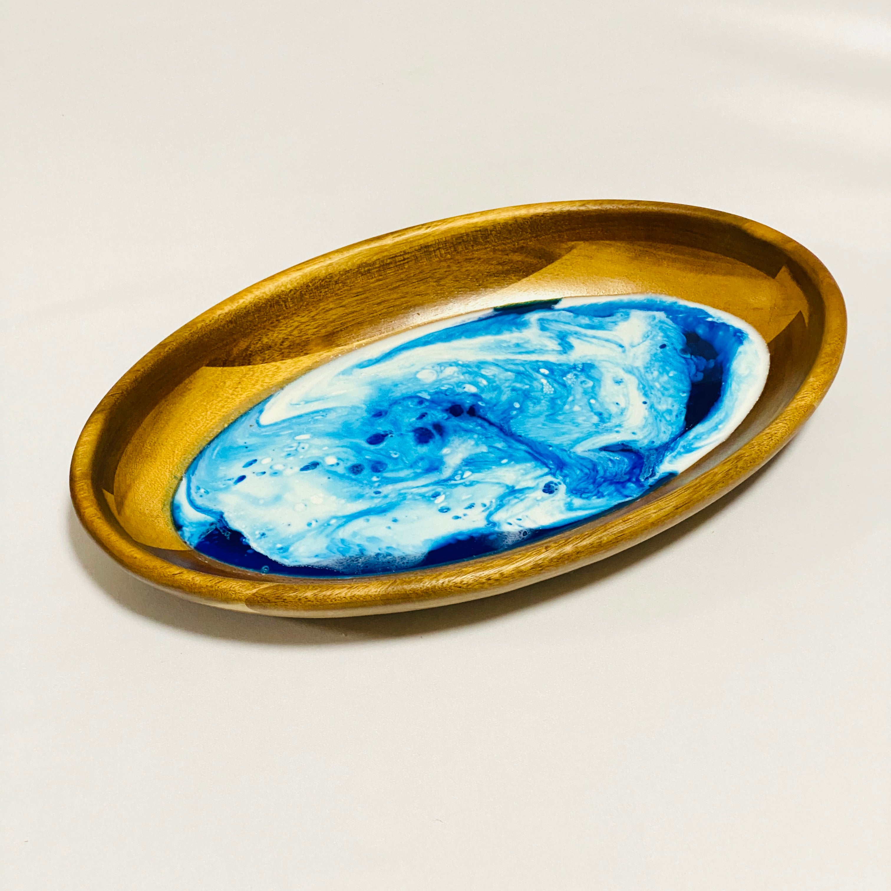 Small Oval Serving Dish - Blue & White