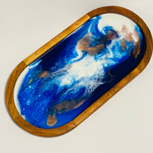 Serving Tray - Blue, white and copper