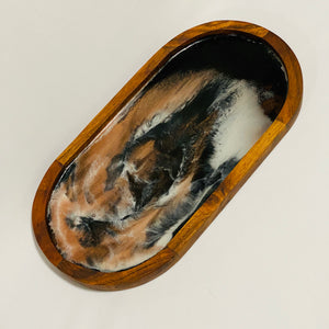 Oval Serving Tray - Black, White & Copper