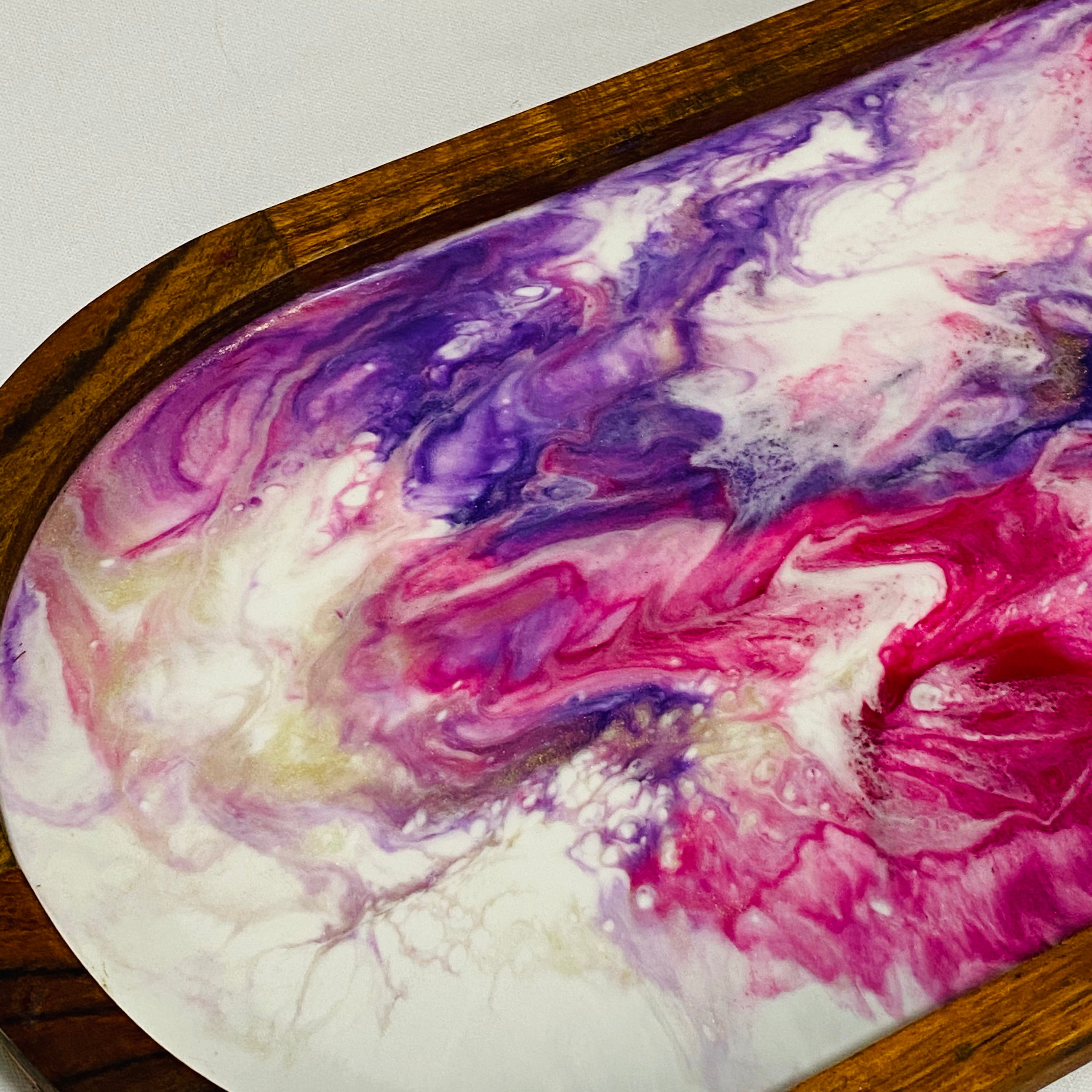 Oval Serving Tray Pink, Purple, White & Silver