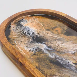 Oval Serving Tray - Black, white and copper