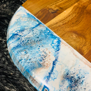 Round Acacia resin art chopping board