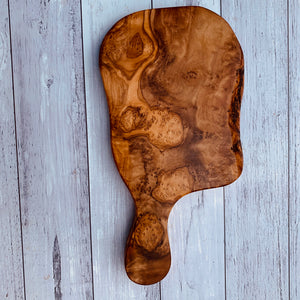Olive wood handcrafted cheese board with handle