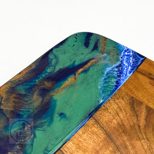 Square Acacia Resin Board - ocean reef