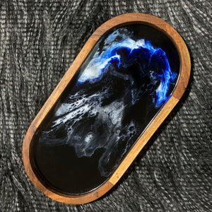 Oval Serving Tray - midnight ocean