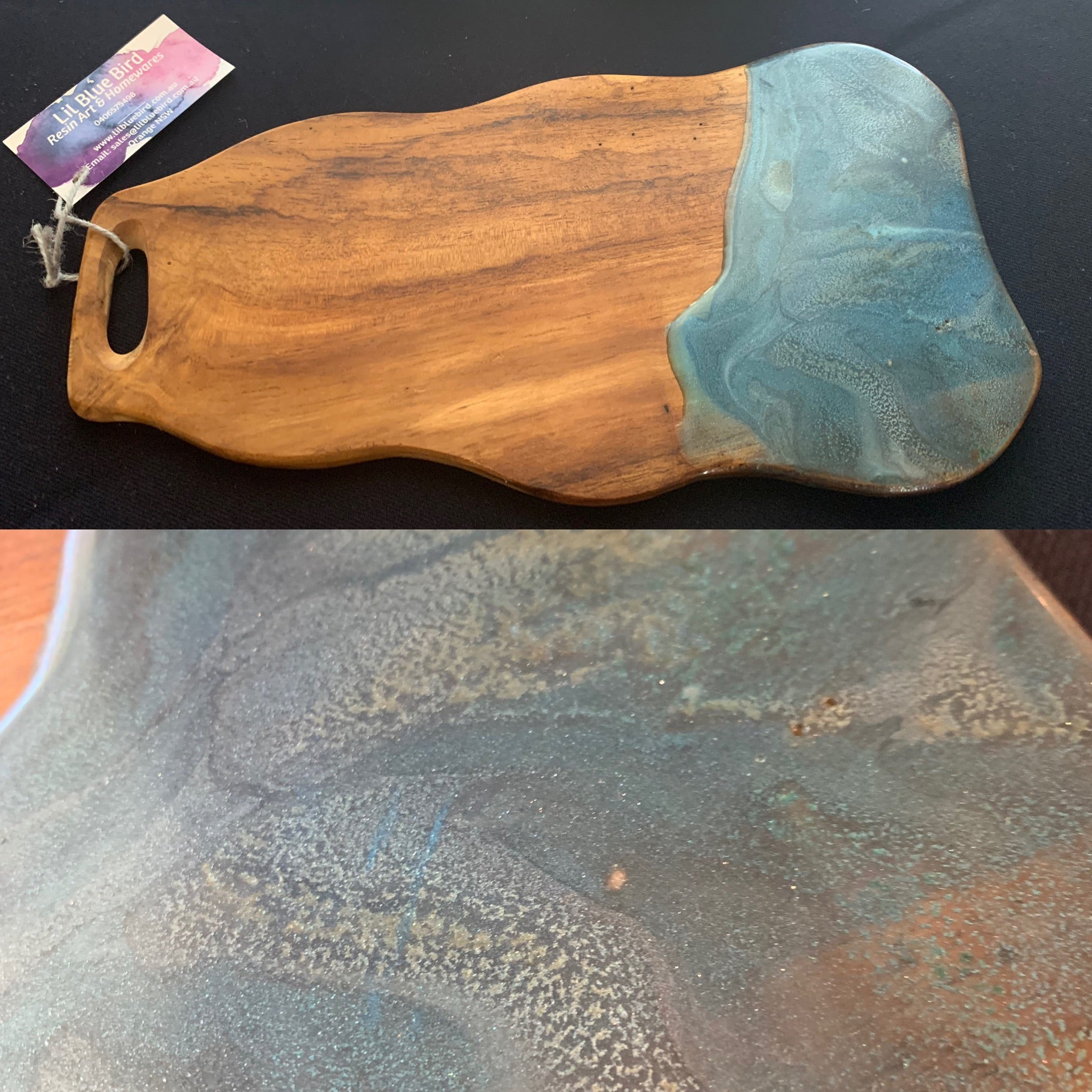 Teak serving board with resin art
