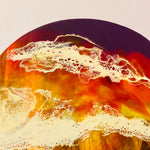 Lazy Susan with sunset ocean Resin Art