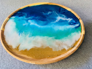 Large Round Serving Tray with resin art