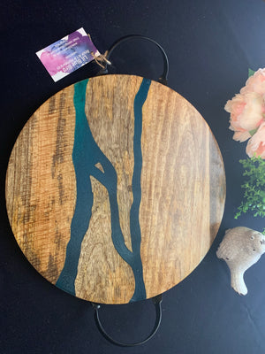 Large Resin river serving board with handles
