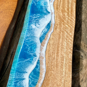 XL grazing board with ocean waves - Mango wood