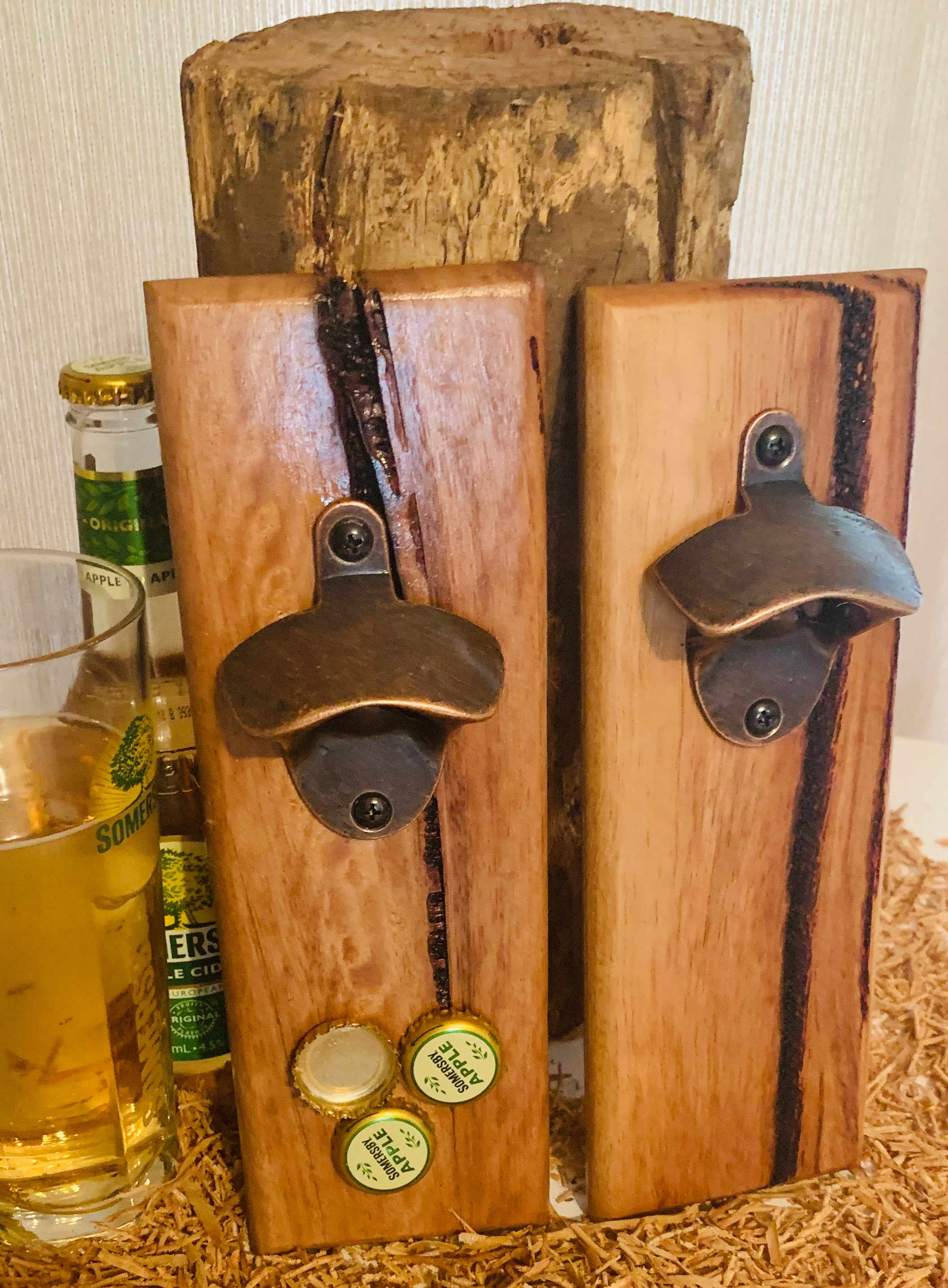 Wall Mounted Bottle Opener - Spotted Gum