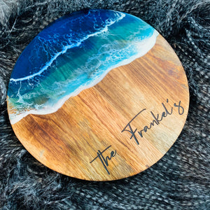 Personalised Round Serving Platter - ocean