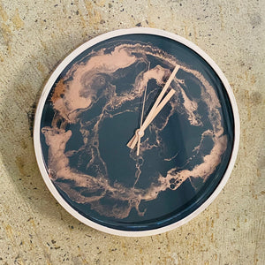 Resin Clock with Rose Gold edge detailing