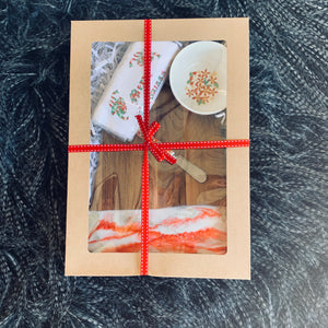 Christmas Gift Box - red cream and gold