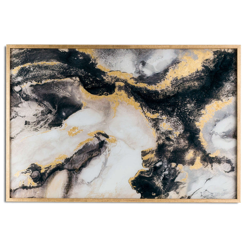 Marble Effect Black And Gold Glass Image In Gold Frame