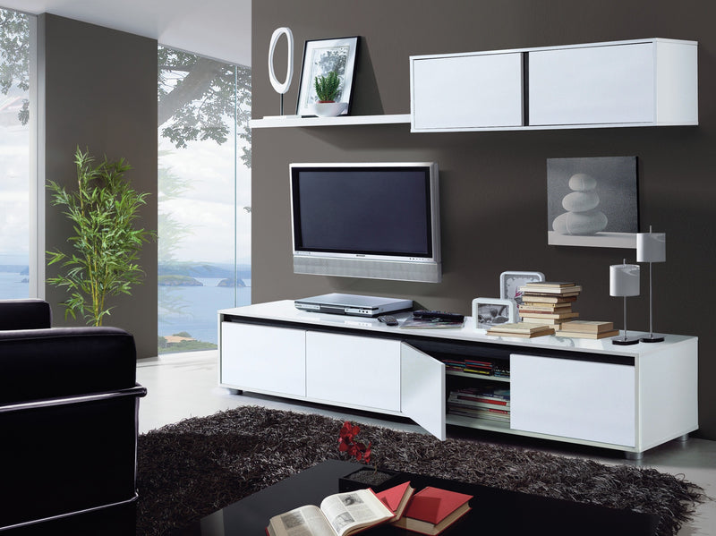 White Gloss TV Complete Wall Cabinet