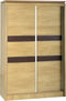 Charles 2 Door Sliding Wardrobe in Oak Effect Veneer with Walnut Trim