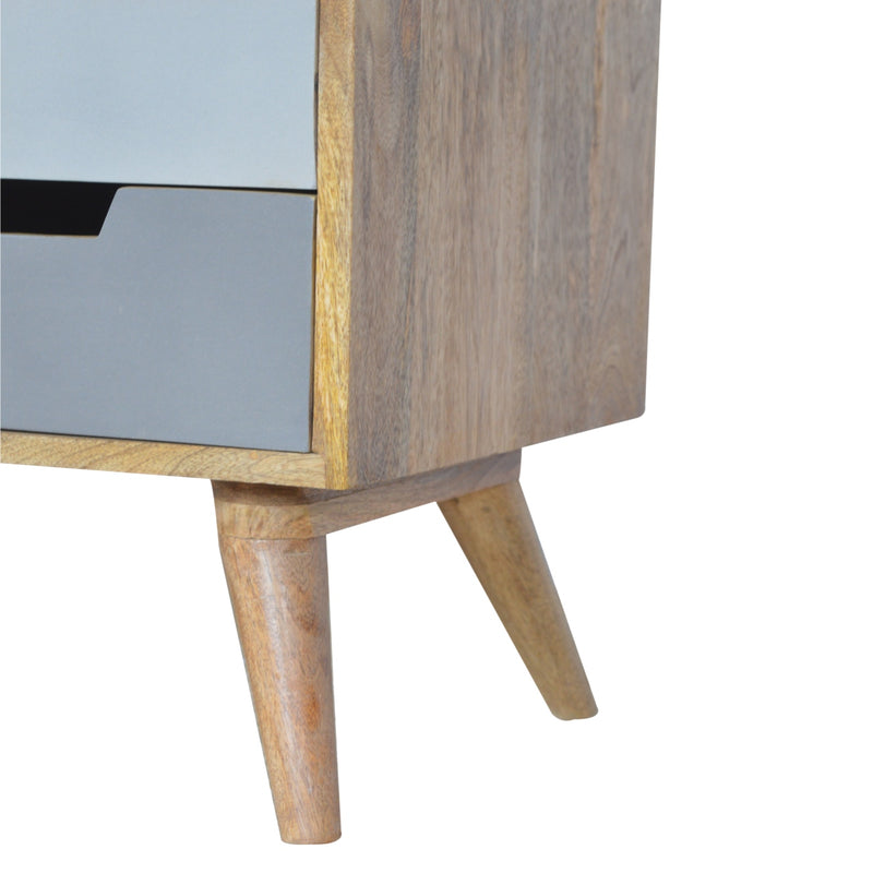 Zion TV Unit with 4 Grey Hand-painted Drawers and 2 Open Slots