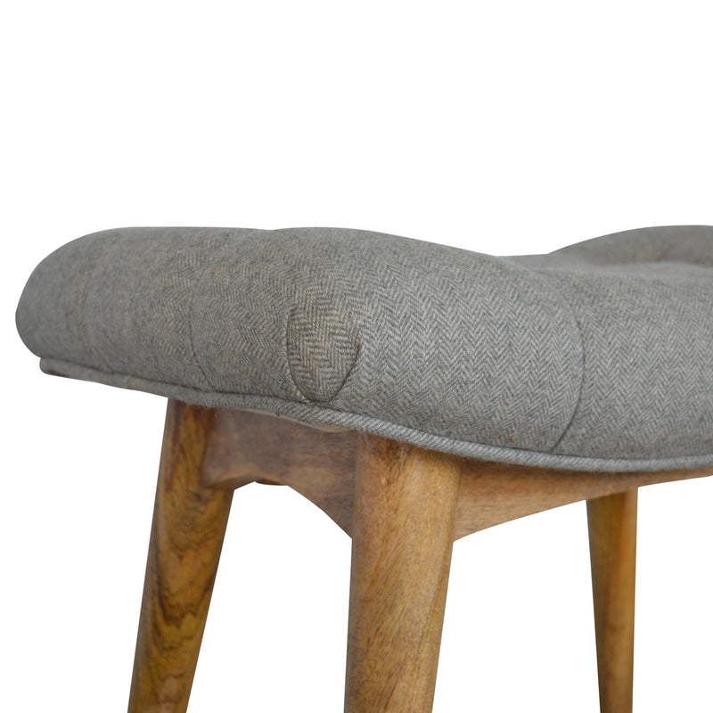 Charlotte Curved Grey Tweed Bench