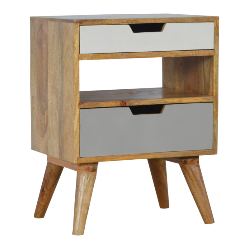 Lizbeth Nordic Style Grey 2 Drawer Cut-out Bedside