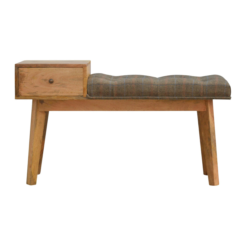 This 1 Drawer Multi Tweed Wooden Bench is a practical piece of furniture for the hallway as well as the living room. It is constructed from 100% solid mango wood which has a fine oak-ish finish and upholstered in multi tweed. Some other features include 1 deep drawer that comes with a shiny brass knob, and 4 Scandinavian styled legs.