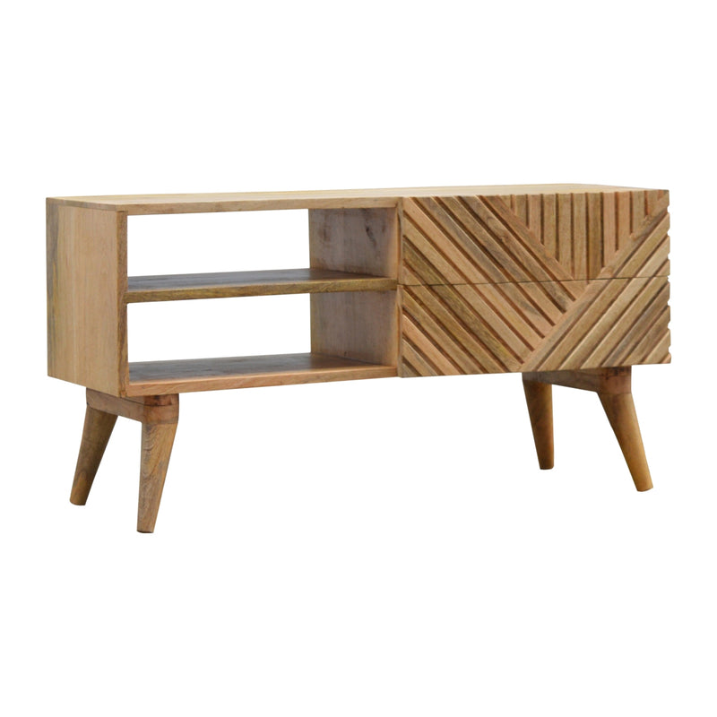 Miya Solid Wood Line Carved TV-Media Unit With 2 Drawers