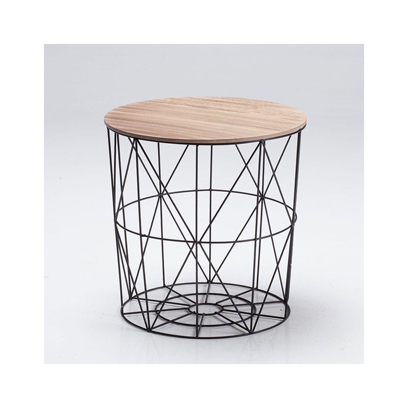 Cosmo Cage Side-Table Black With Oak Finish Top