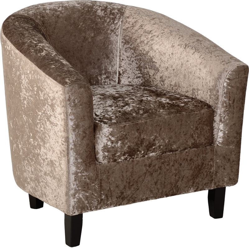 Hammond Tub Chair in Mink Crushed Velvet