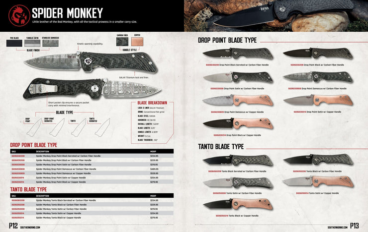 Spider Monkey Drop Point Spec Sheet - By Southern Grind